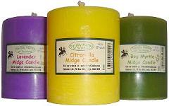 Midge candles made with citronella,